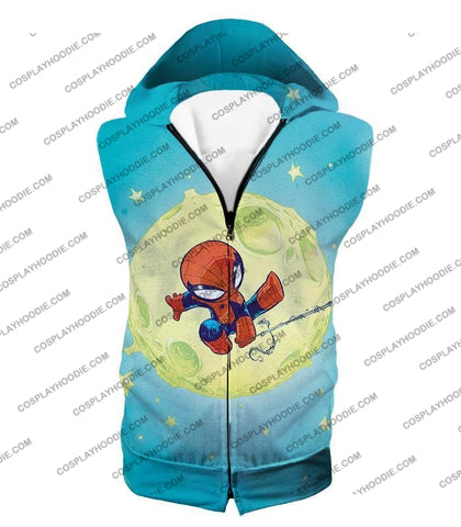 Image of Cute Animated Spiderman Swinging Cool Blue T-Shirt Sp087 Hooded Tank Top / Us Xxs (Asian Xs)