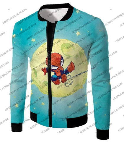 Image of Cute Animated Spiderman Swinging Cool Blue T-Shirt Sp087 Jacket / Us Xxs (Asian Xs)
