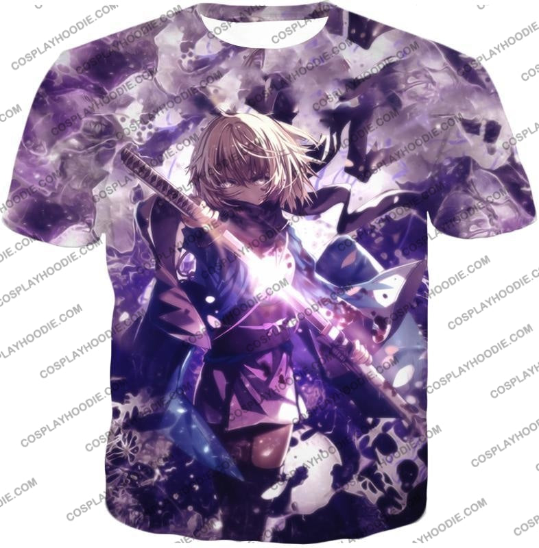 Fate Stay Night Grand Order Deadly Fighter Saber Sakura Action T-Shirt Fsn089 / Us Xxs (Asian Xs)