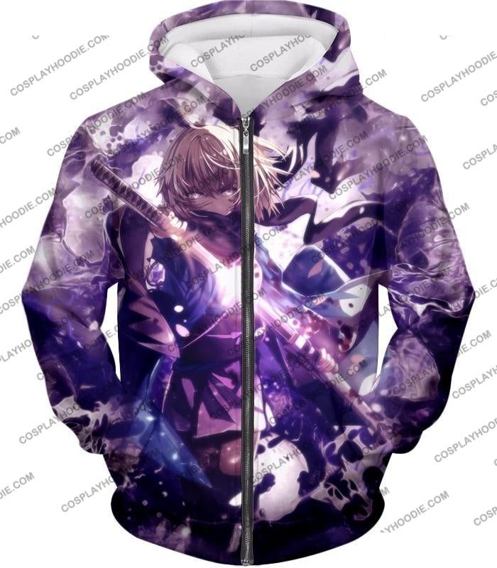 Fate Stay Night Grand Order Deadly Fighter Saber Sakura Action T-Shirt Fsn089 Zip Up Hoodie / Us Xxs