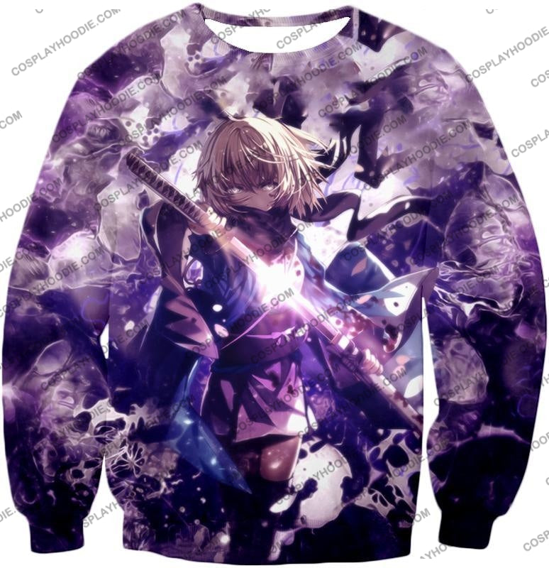 Fate Stay Night Grand Order Deadly Fighter Saber Sakura Action T-Shirt Fsn089 Sweatshirt / Us Xxs