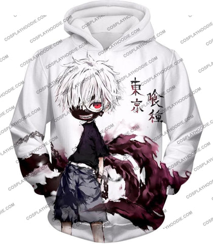 Image of Tokyo Ghoul Very Cool Ken Kaneki Anime Action Art Promo White T-Shirt Tg059 Hoodie / Us Xxs (Asian