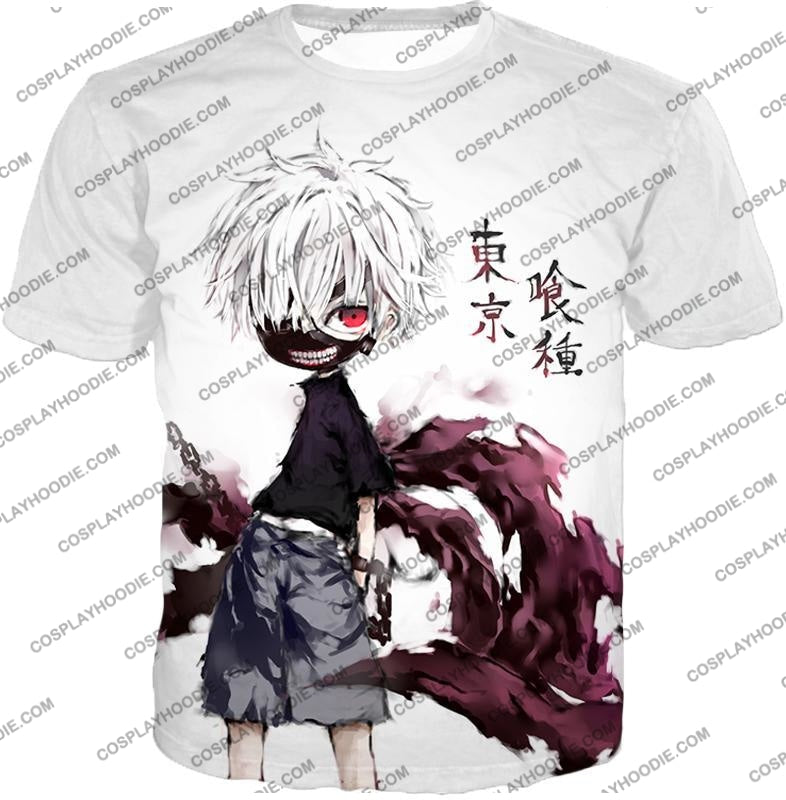 Tokyo Ghoul Very Cool Ken Kaneki Anime Action Art Promo White T-Shirt Tg059 / Us Xxs (Asian Xs)