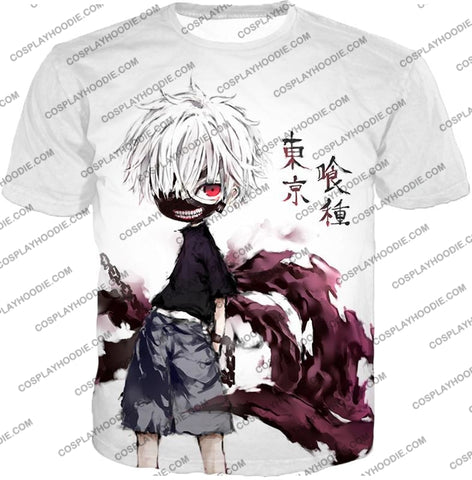 Image of Tokyo Ghoul Very Cool Ken Kaneki Anime Action Art Promo White T-Shirt Tg059 / Us Xxs (Asian Xs)