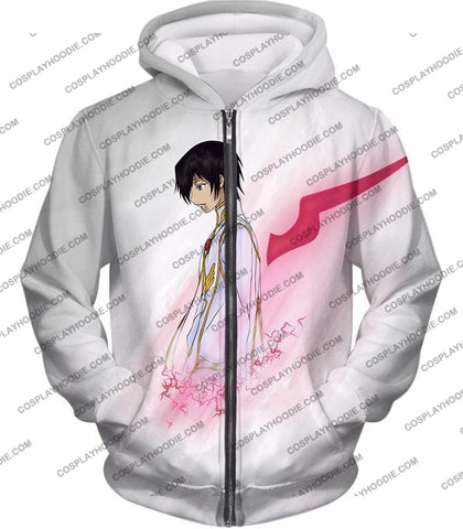 Image of Code Geass Anime Hero Lelouch Lamperouge Awesome White T-Shirt Cg009 Zip Up Hoodie / Us Xxs (Asian