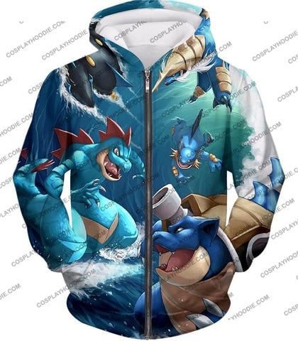Image of Pokemon Awesome All Powerful Water Type Pokemons Cool T-Shirt Pkm009 Zip Up Hoodie / Us Xxs (Asian