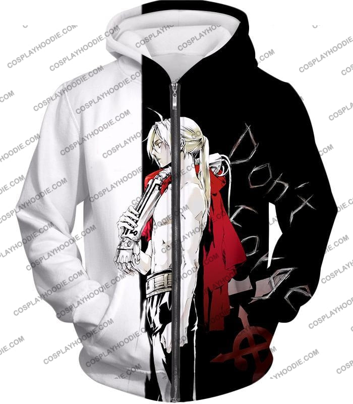 Fullmetal Alchemist Cool Edward Elrich Amazing Black And White Anime T-Shirt Fa009 Zip Up Hoodie /