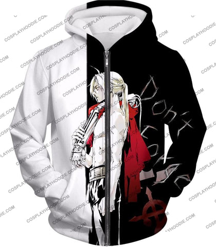 Image of Fullmetal Alchemist Cool Edward Elrich Amazing Black And White Anime T-Shirt Fa009 Zip Up Hoodie /