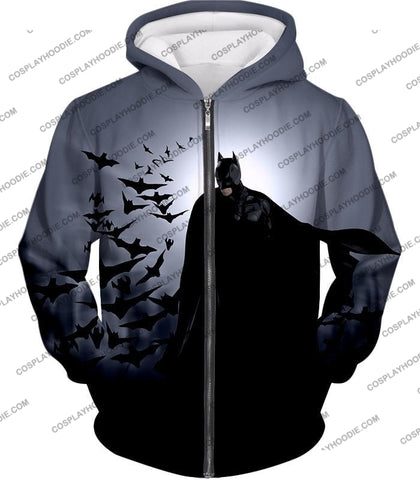 Image of Super Cool Gotham Vigilante Batman Graphic Action T-Shirt Bm009 Zip Up Hoodie / Us Xxs (Asian Xs)