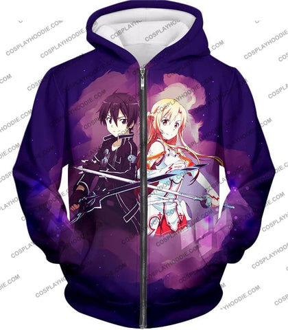 Sword Art Online Best Anime Couple Kirito And Asuna Cool Action T-Shirt Sao009 Zip Up Hoodie / Us