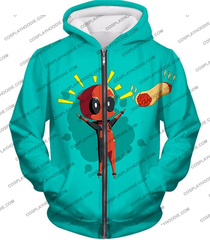 Marvels Funniest Hero Deadpool Art Cool Blue T-Shirt Dp009 Zip Up Hoodie / Us Xxs (Asian Xs)
