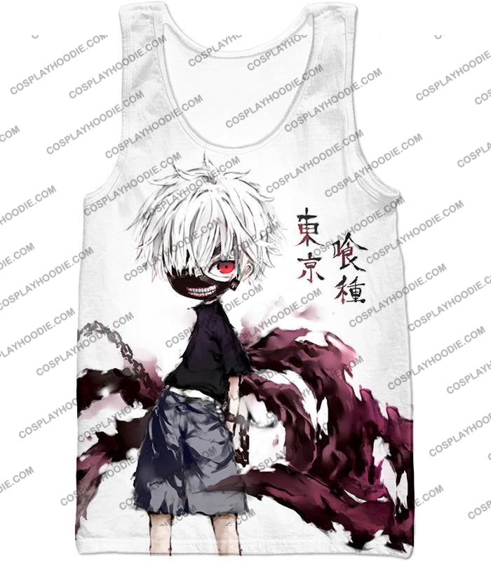 Tokyo Ghoul Very Cool Ken Kaneki Anime Action Art Promo White T-Shirt Tg059 Tank Top / Us Xxs (Asian