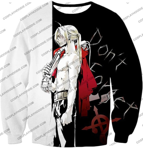 Image of Fullmetal Alchemist Cool Edward Elrich Amazing Black And White Anime T-Shirt Fa009 Sweatshirt / Us