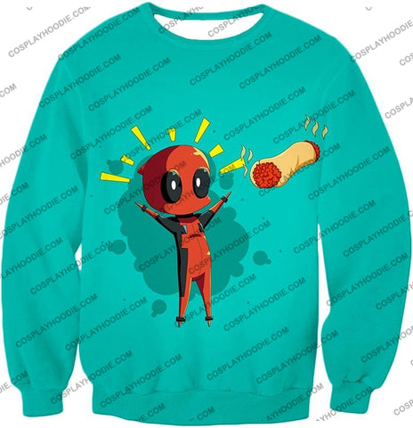 Image of Marvels Funniest Hero Deadpool Art Cool Blue T-Shirt Dp009 Sweatshirt / Us Xxs (Asian Xs)
