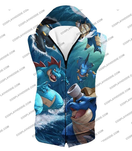 Image of Pokemon Awesome All Powerful Water Type Pokemons Cool T-Shirt Pkm009 Hooded Tank Top / Us Xxs (Asian