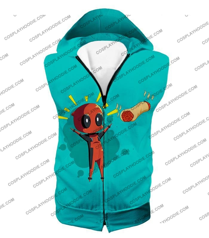Marvels Funniest Hero Deadpool Art Cool Blue T-Shirt Dp009 Hooded Tank Top / Us Xxs (Asian Xs)