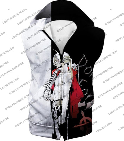Image of Fullmetal Alchemist Cool Edward Elrich Amazing Black And White Anime T-Shirt Fa009 Hooded Tank Top /