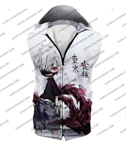 Image of Tokyo Ghoul Very Cool Ken Kaneki Anime Action Art Promo White T-Shirt Tg059 Hooded Tank Top / Us Xxs