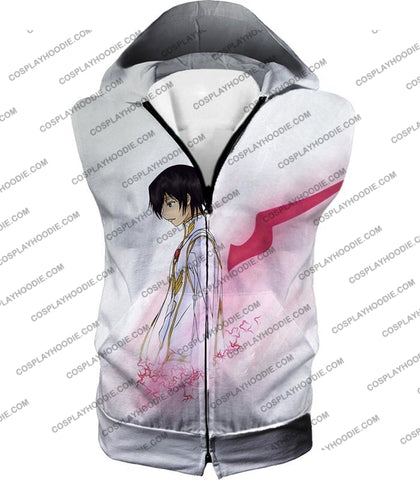 Image of Code Geass Anime Hero Lelouch Lamperouge Awesome White T-Shirt Cg009 Hooded Tank Top / Us Xxs (Asian