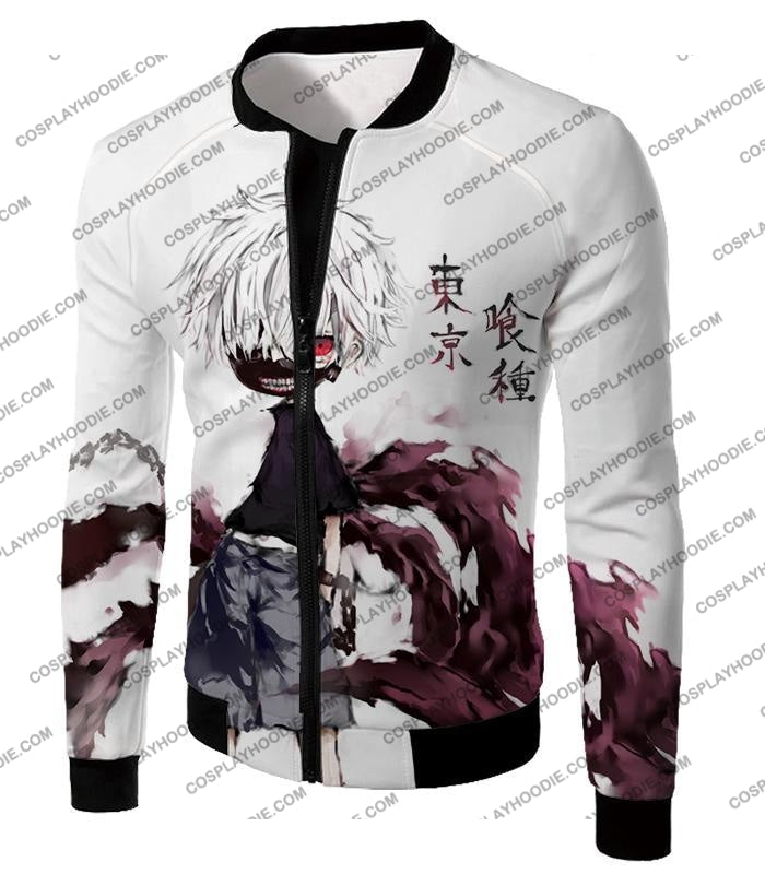 Tokyo Ghoul Very Cool Ken Kaneki Anime Action Art Promo White T-Shirt Tg059 Jacket / Us Xxs (Asian