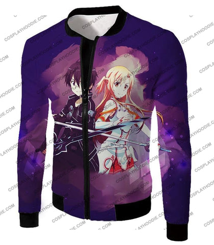 Sword Art Online Best Anime Couple Kirito And Asuna Cool Action T-Shirt Sao009 Jacket / Us Xxs