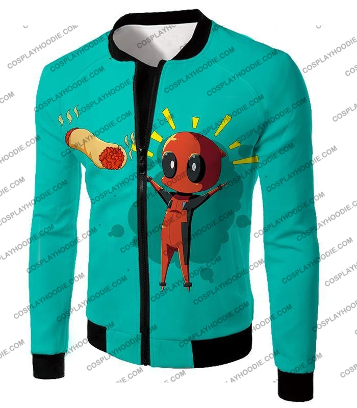 Marvels Funniest Hero Deadpool Art Cool Blue T-Shirt Dp009 Jacket / Us Xxs (Asian Xs)
