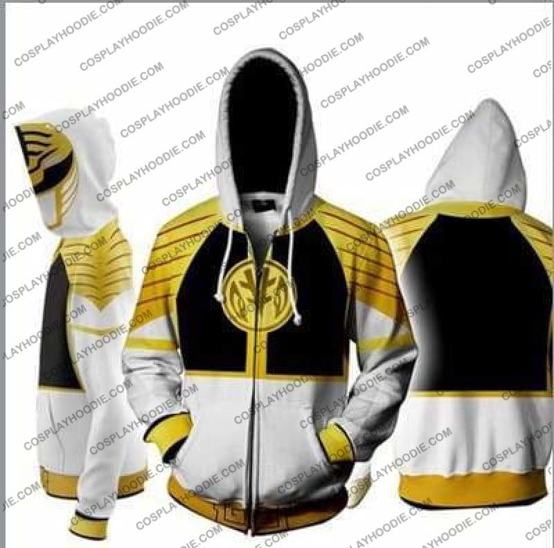 Power Rangers White Zip Up Hoodie Jacket Cosplay