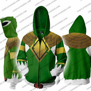 Power Rangers Green Zip Up Hoodie Jacket Cosplay