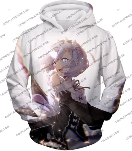 Image of Re:zero Super Cute Rem White Anime Action T-Shirt Re093 Hoodie / Us Xxs (Asian Xs)