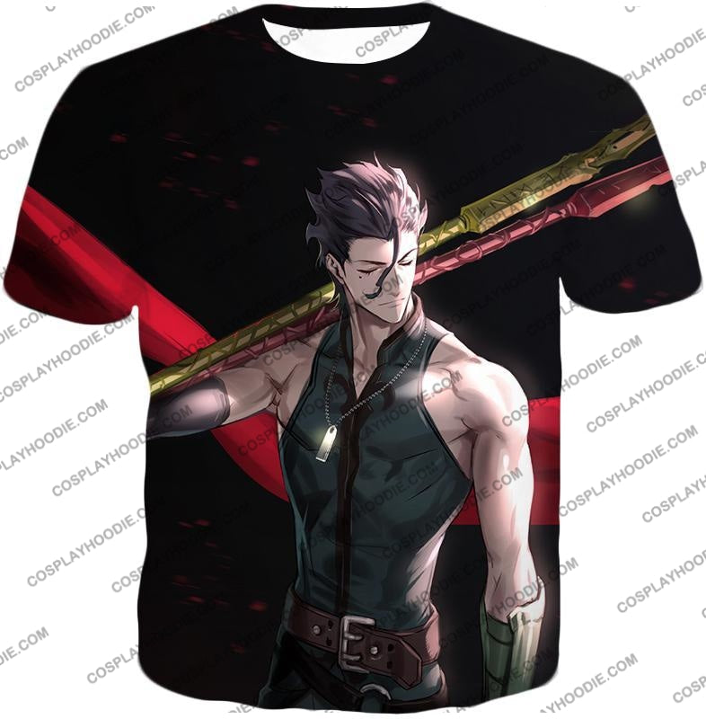 Fate Stay Night Handsome Lancer Diarmuid Of The Love Spot Black T-Shirt Fsn093 / Us Xxs (Asian Xs)