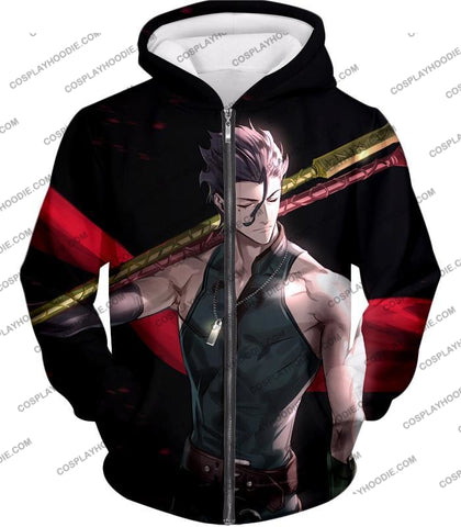 Image of Fate Stay Night Handsome Lancer Diarmuid Of The Love Spot Black T-Shirt Fsn093 Zip Up Hoodie / Us