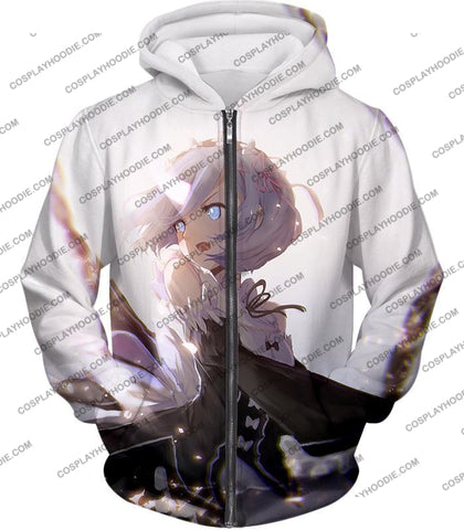 Image of Re:zero Super Cute Rem White Anime Action T-Shirt Re093 Zip Up Hoodie / Us Xxs (Asian Xs)