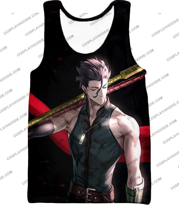 Fate Stay Night Handsome Lancer Diarmuid Of The Love Spot Black T-Shirt Fsn093 Tank Top / Us Xxs