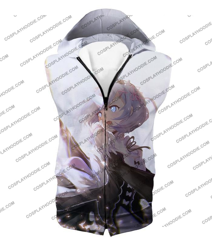 Re:zero Super Cute Rem White Anime Action T-Shirt Re093 Hooded Tank Top / Us Xxs (Asian Xs)
