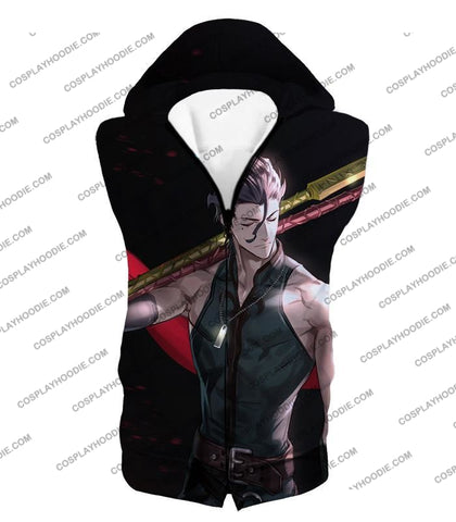 Image of Fate Stay Night Handsome Lancer Diarmuid Of The Love Spot Black T-Shirt Fsn093 Hooded Tank Top / Us