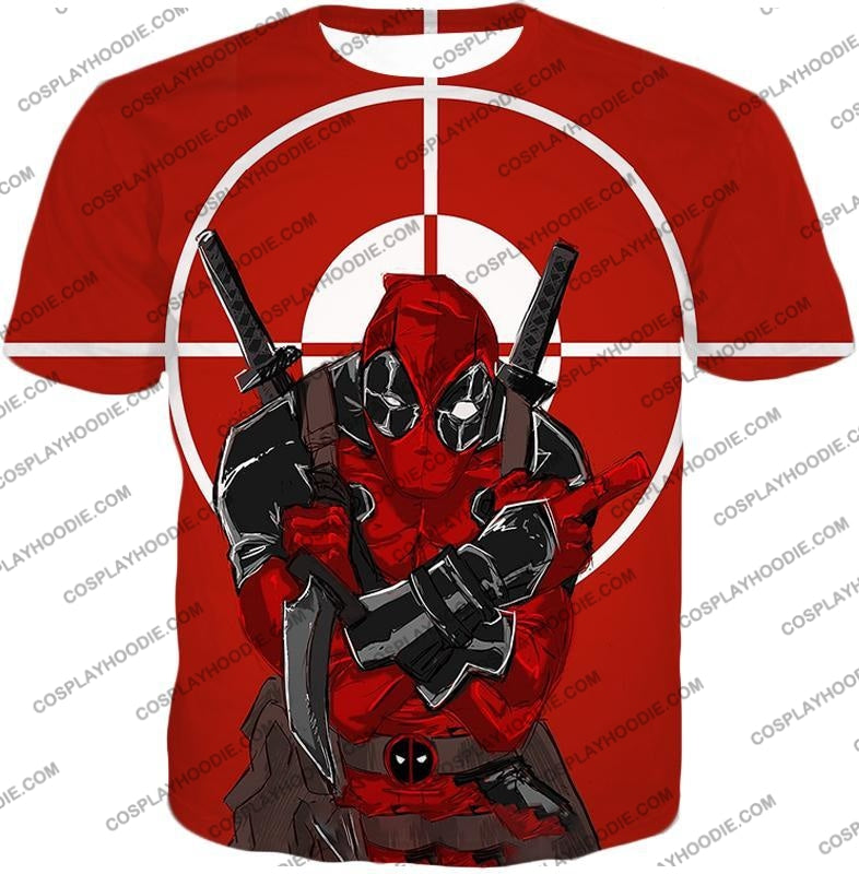 Highly Skilled Warrior Deadpool Red Target T-Shirt Dp095 / Us Xxs (Asian Xs)
