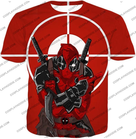 Image of Highly Skilled Warrior Deadpool Red Target T-Shirt Dp095 / Us Xxs (Asian Xs)