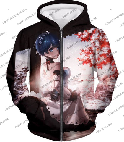 Image of Re:zero Short Haired Rem Water Magic User Anime T-Shirt Re095 Zip Up Hoodie / Us Xxs (Asian Xs)