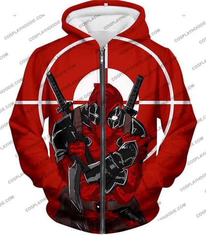 Image of Highly Skilled Warrior Deadpool Red Target T-Shirt Dp095 Zip Up Hoodie / Us Xxs (Asian Xs)