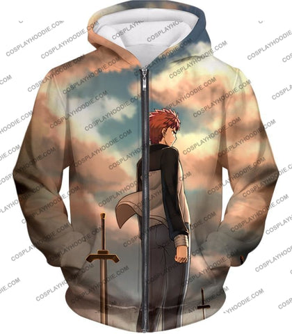 Image of Fate Stay Night Super Cool Hero Shirou Emiya Unlimited Blade Works T-Shirt Fsn095 Zip Up Hoodie / Us