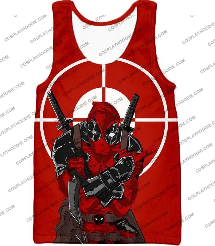 Highly Skilled Warrior Deadpool Red Target T-Shirt Dp095 Tank Top / Us Xxs (Asian Xs)
