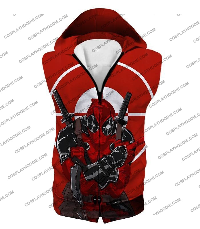 Highly Skilled Warrior Deadpool Red Target T-Shirt Dp095 Hooded Tank Top / Us Xxs (Asian Xs)