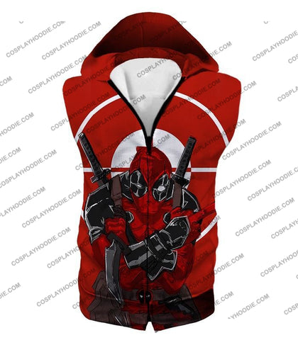 Image of Highly Skilled Warrior Deadpool Red Target T-Shirt Dp095 Hooded Tank Top / Us Xxs (Asian Xs)