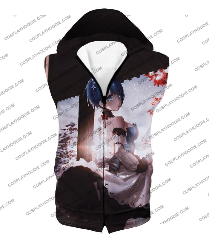 Re:zero Short Haired Rem Water Magic User Anime T-Shirt Re095 Hooded Tank Top / Us Xxs (Asian Xs)