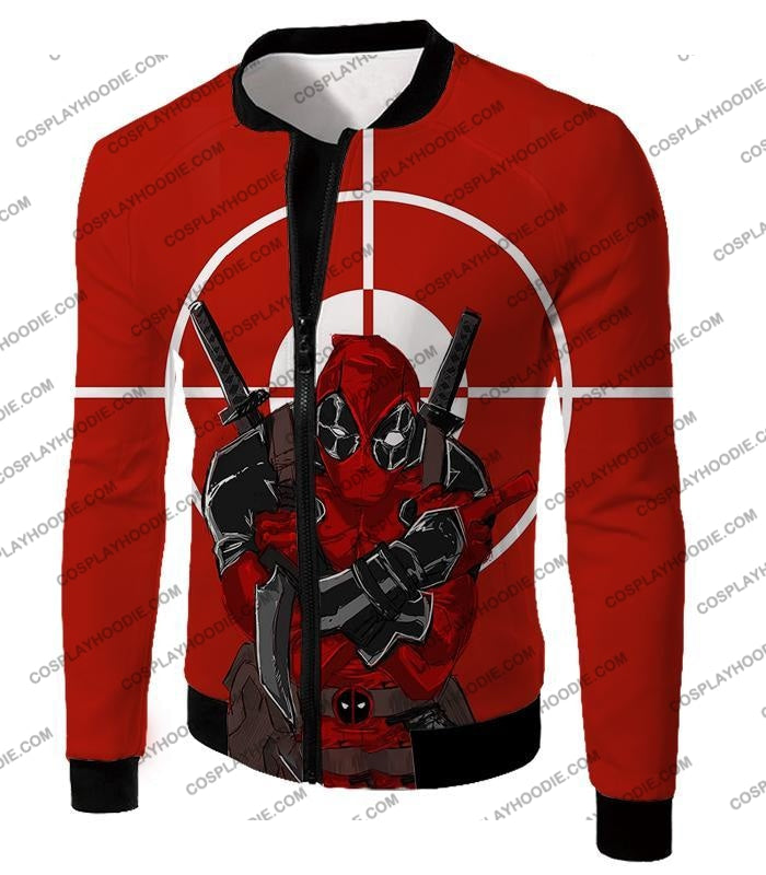 Highly Skilled Warrior Deadpool Red Target T-Shirt Dp095 Jacket / Us Xxs (Asian Xs)