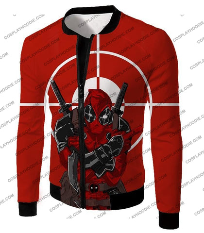 Image of Highly Skilled Warrior Deadpool Red Target T-Shirt Dp095 Jacket / Us Xxs (Asian Xs)