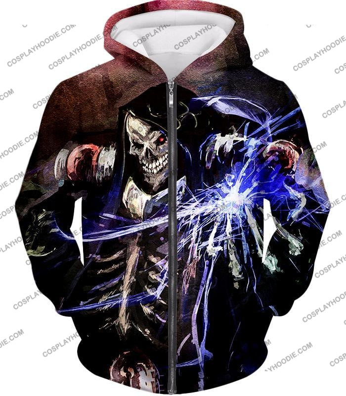 Overlord Ultimate Guild Master Ainz Ooal Gown Cool Action Promo T-Shirt Ol096 Zip Up Hoodie / Us Xxs