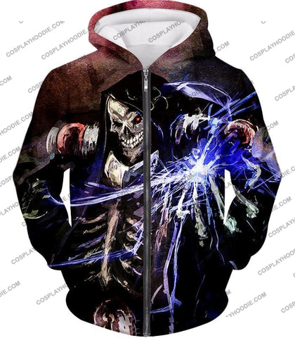 Image of Overlord Ultimate Guild Master Ainz Ooal Gown Cool Action Promo T-Shirt Ol096 Zip Up Hoodie / Us Xxs