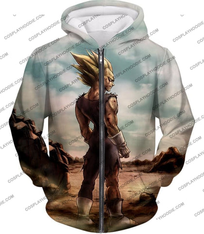 Image of Dragon Ball Super Vegeta Saiyan 2 Awesome Graphic Anime T-Shirt Dbs096 Zip Up Hoodie / Us Xxs (Asian