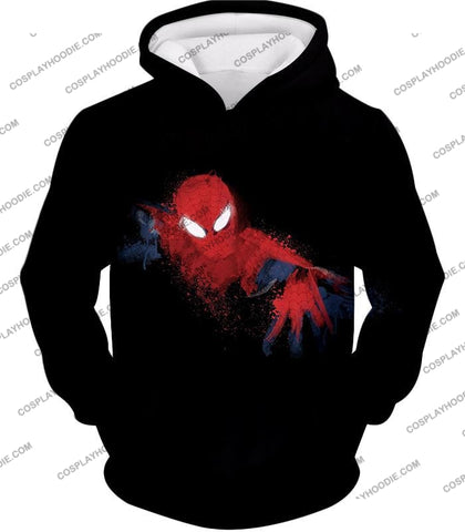 Image of Awesome Hero Spiderman Faded Print Black T-Shirt Sp099 Hoodie / Us Xxs (Asian Xs)